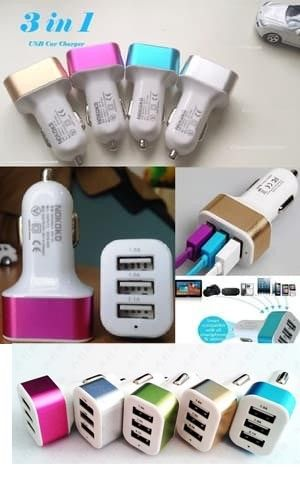Car Charger 3in1 USB Port Mobil Handphone Hp Android Samsung 3 in 1 Cas - 378