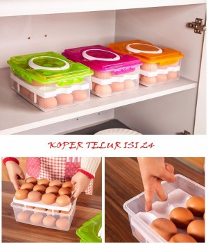 Tas Telur Susun Koper Telor Isi 24 Travel Egg Tray - 341
